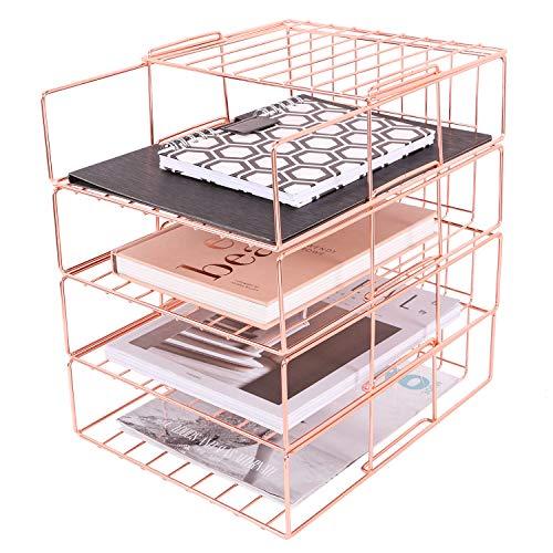 Bandeja de archivos apilables, bandeja de organizador de papel de 4 niveles, estante de clasificación de archivos de escritorio de alambre para correo, revista, documento y carpeta, oro rosa