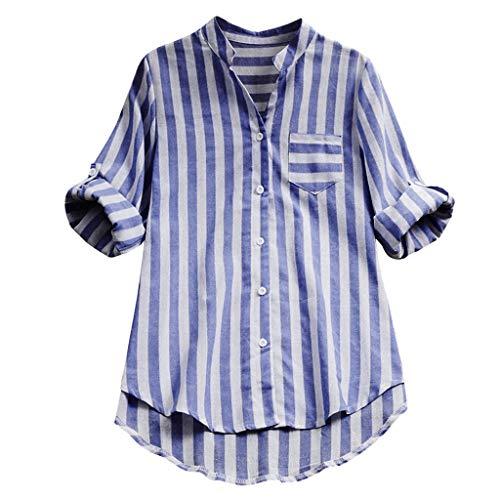 ABsoar Baumwoll-Leinen T-Shirt Damen Gestreiftes Drucken Langarm Blusen Beliebte Tasche Hemd Sommer Herbst Tunika Frauen Plus Größe V-Ausschnitt Tops mit Roll Up Ärmel