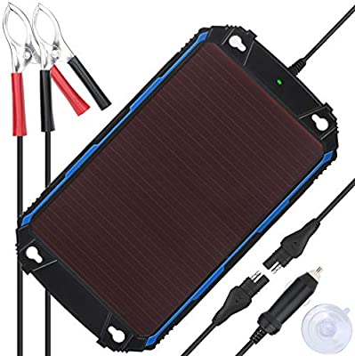 SUNER POWER Upgraded Waterproof 12V Solar Battery Charger & Maintainer Pro - Built-in Intelligent MPPT Charge Controller - 5 Watt Solar Panel Trickle Charging Kit for Car, Marine, Motorcycle, RV, etc