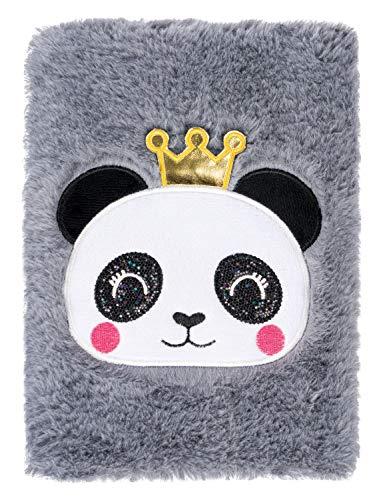 Baagl Plüsch Notizbuch für Mädchen Liniert – A5 Flauschiger Tagebuch mit Linien - Notizblock Journal Notebook für Schule (Panda)