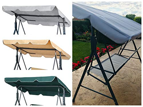 GRADINA Replacement Canopy for Swing Seat 2 & 3 Seater Sizes Hammock Cover Top Garden Outdoor Furniture Swing Chair (168cm x 114cm, Grey)