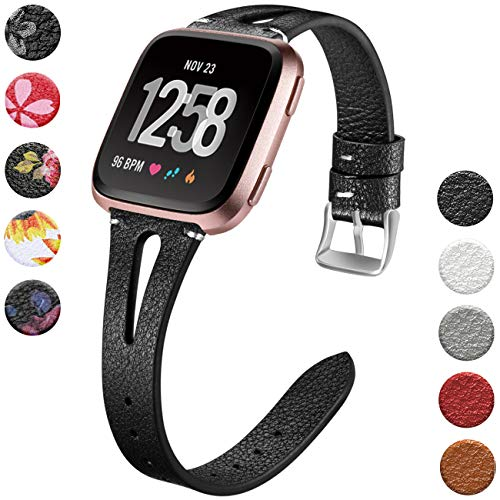Wepro Leather Bands Compatible with Fitbit Versa/Versa 2/Versa Lite SE Watch for Women Men, Small, Slim Genuine Leather Wristbands Bracelet Fitness Straps for Fitbit Versa & Versa Lite SE, Black