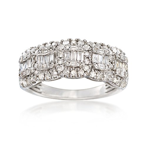 Ross-Simons 1.00 ct. t.w. Round and Baguette Diamond Ring in Sterling Silver. Size 7