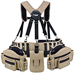 12 Pocket Heavy Duty Leather Tool Belt Construction Large Workman Professional