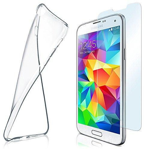 moex Aero Hülle mit Panzerglas für Samsung Galaxy S5 Mini - Hülle mit Schutzfolie, transparent - Crystal Clear