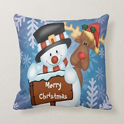 perfecone Home Improvement - Funda de almohada para sofá y coche, diseño de muñeco de nieve y reno, 1 paquete de 45 x 45 cm