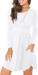 Women's Long Sleeve Casual T Shirt Dresses Swing Dress with Pockets