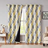 Beauoop 95% Blackout Window Curtain Panels Moroccan Geo Print Room Darkening Thermal Insulated Energy Saving Drapes Quatrefoil Grommet Top Window Treatment Set, 52 by 84 Inch, Yellow/Gray (2 Panels)