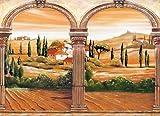 VLIES Fototapete-TOSKANA ITALIEN-350x260 cm-7 Bahnen-(18298)-Inkl. Kleister-EASYINSTALL-PREMIUM-Landschaft Garten Blumen Bäume Wald Weg Blüten Orchideen Pflanzen Fluss Steine Strand Sunset Sonne