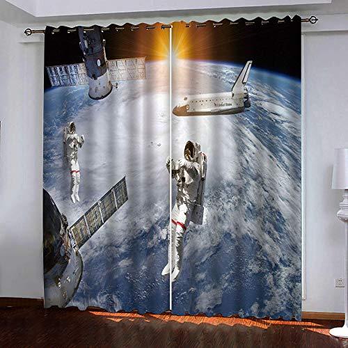 HANTAODG verduisteringsgordijnen met astronaut patroon verduisteringsgordijnen modern kort gordijn thermo-isolerend koude warmte reductie lawaai bescherming tegen inkijk 140 x 160 cm 150x166cm
