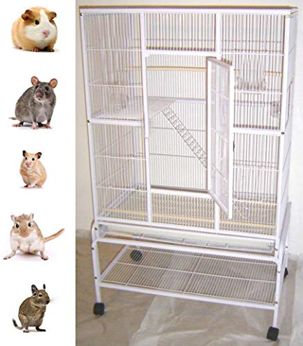 """60"""" Large Wrought Iron 4 Levels Ferret Chinchilla Sugar Glider Rats Mices Rabbit Squirrel Hamster Cage with Removable Stand (32"""" L x 19"""" W x 60"""" H, WhiteVein)"""