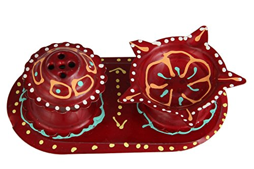 Ansh Present Antique Steel Printed Incense Stand And Diva Holder for Pooja, Ganesh Pooja , & All Auspicious Occasions & Daily Home Pooja Items