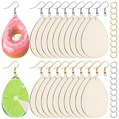 BronaGrand Wooden Earring Pendants,50 Pcs Unfinished Wooden Earrings Teardrop Pendants with 60 Pcs Earring Hooks and 60 Pcs jump Rings for Jewelry DIY Making