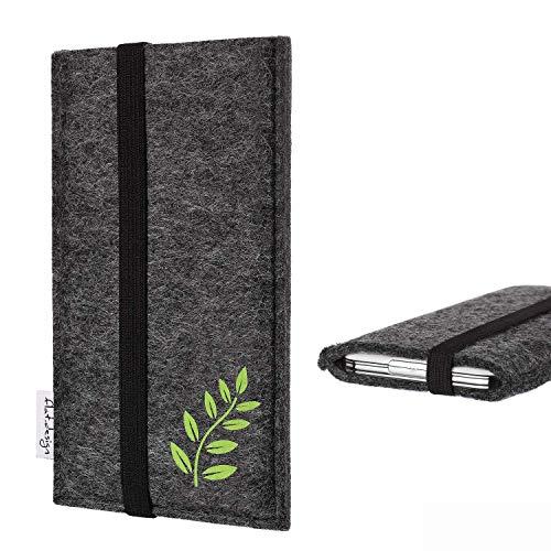flat.design Handyhülle Lisboa kompatibel mit Huawei P8 Lite 2017 Dual SIM - Smartphone-Tasche aus Filz mit Motiv Blätter - Handytasche Handmade in Germany