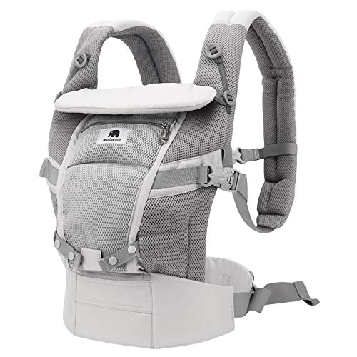 Meinkind Baby Carrier, 4-in-1 Convertible Carrier Ergonomic Soft Breathable Comfortable Baby Carrier for 7~45lbs Baby, Front Back Carrier with Head Support, Padded Shoulder Strap, Sunshade, Grey