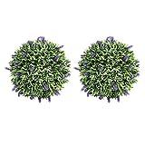YARNOW - 2 bolas de boj artificiales artificiales de lavanda, hierba verde, bola de...