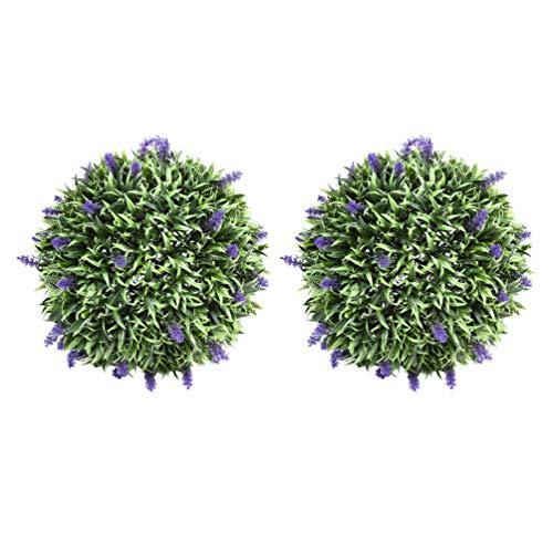 YARNOW - 2 bolas de boj artificiales artificiales de lavanda, hierba verde, bola de montaje de pared, simulación de topiario, planta de decoración para jardín, patio o patio