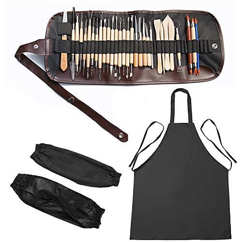 MOPOIN Modellierwerkzeuge Ton-Werkzeuge, 30Pcs Clay Werkzeug Keramik Schnitzen Clay Tool, Doppelseitige Sculpting Werkzeug Töpferwerkzeug, inkl. Aufbewahrungstasche Schürze Schutzärmel