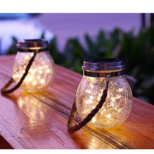 Lanterne solaire suspendue extérieure EONANT, lampe de table solaire étanche à LED Mason Jar Light avec verre craquelé, décoration de vacances jardin arbre bureau paysage lumière blanc chaud