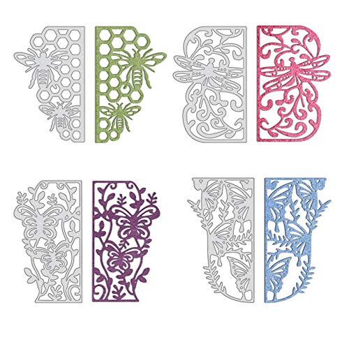 GLOBLELAND 4 Piezas Marco de Encaje de Insectos Troqueles de Corte de Metal Plantilla de Plantilla de Mariposa de libélula para álbum de Recortes en Relieve Decoración de álbum