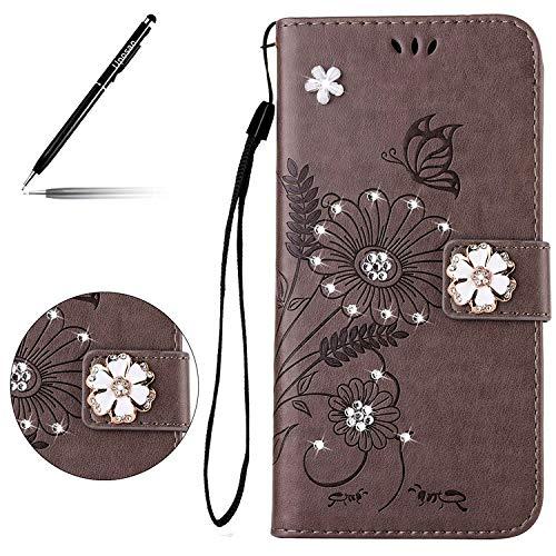 Uposao Kompatibel mit Handyhülle Galaxy S4 Handy Tasche Schmetterling Blumen Glitzer Bling Brieftasche Ledertasche Schutzhülle Bookstyle Flip Case Cover Klappbar Lederhülle,Grau
