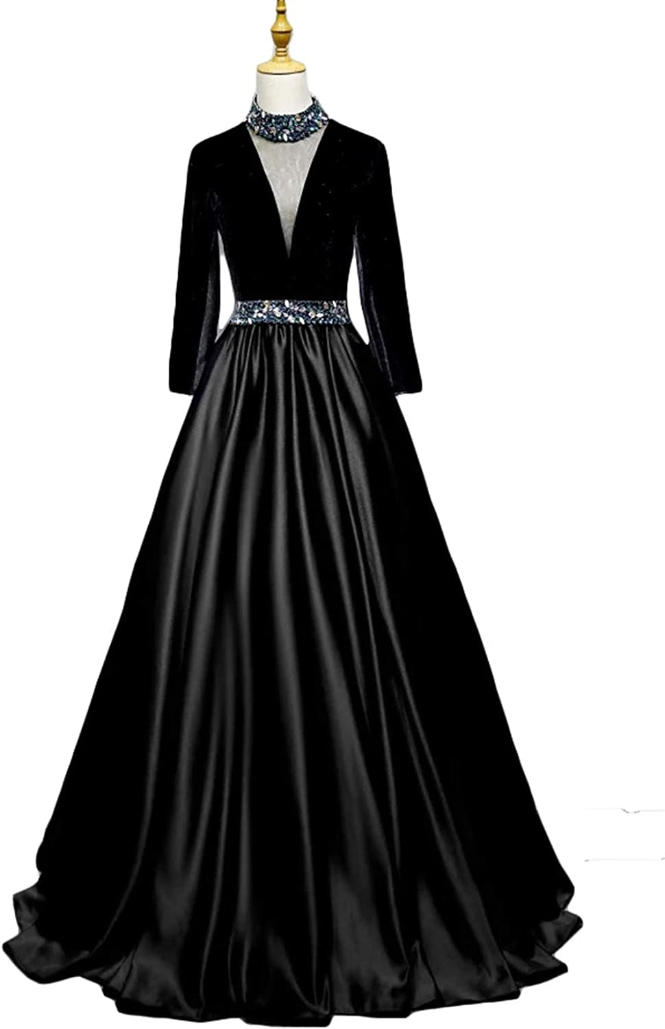 DKBridal Women's Long Black Evening Dresses Long Sleeves Sleeveless Beaded Prom Gowns Lace Applique Wedding Party Dresses