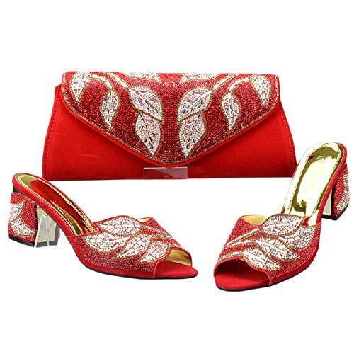 Scarpe da donna di colore verde con borse di corrispondenza impostate africane donne scarpe da sposa e set di borse, Rosso (Sandali Adventure Seeker, punta chiusa - T - Bambini), 40 EU