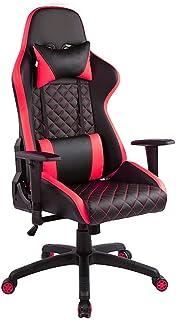 Las sillas de Escritorio Silla Silla de Oficina ergonómica Juego Juego de Ordenador del Presidente Racing Alta Silla Trasera PU Silla for Juegos para el Juego (Color : Red, Size : Free Size)