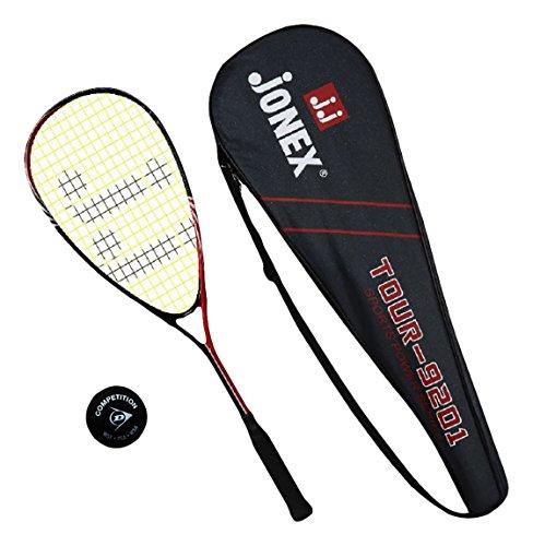 Jonex Aluminum (Composite) Squash Racket with Dunlop Ball, (Multi-Colour)