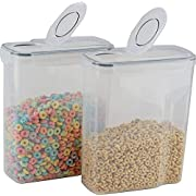 cereal container (2 PACK) - cereal storage containers made of clear plastic - cereal dispenser fits 2 X 169 OZ / 21 cups - Leak proof