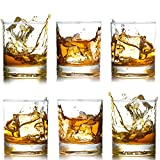Whiskey Glasses-Premium 12 OZ Scotch Glasses Set of 6 /Old Fashioned Whiskey Glasses/Perfect Gift for Scotch Lovers/Style Glassware for Bourbon/Rum glasses/Bar Tumbler Whiskey Glasses, Clear
