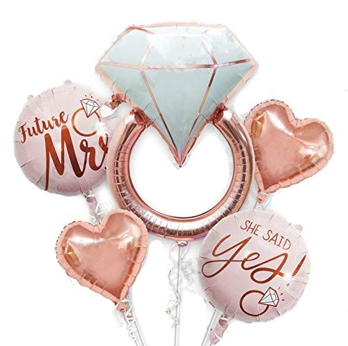 32 inch Diamond Ring Foil Balloon 22inch Rose Gold She Said Yes Balloon Future Mrs Foil Balloons Rose Gold Heart shape Foil Balloon Great for Bridal Shower Bride to be Party Wedding Engagement Decoration (5pcs)