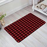 Z&L Home Red Black Buffalo Check Plaid Pattern Doormat Home Bathroom Bedroom Mat Toilet Kitchen Floor Decor Rug Non Slip Mat 18x30Inch