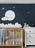 calcomanía decorativo para pared, diseño de luna, nubes y estrellas, vinilo para pared, decoración de guardería, pegatinas para niños