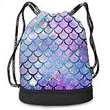 RAINNY Men & Women Waterproof Large Storage Drawstring Backpack - Mermaid Scales with Galaxy Cinch Backpack Sackpack Tote Sack for Gym Hiking School