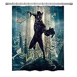 Super Hero Duschvorhang, Black Panther, wasserdichter Polyester-Stoff, Badezimmer-Vorhang, Dekor-Duschvorhang-Set, Haken enthalten, 180 x 180 cm