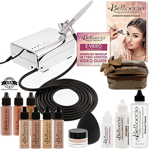 Belloccio Professional Beauty Deluxe Airbrush Cosmetic Makeup System with 4 Medium Shades of Foundation in 1/2 oz Bottles - Kit includes Blush, Bronzer and Highlighters