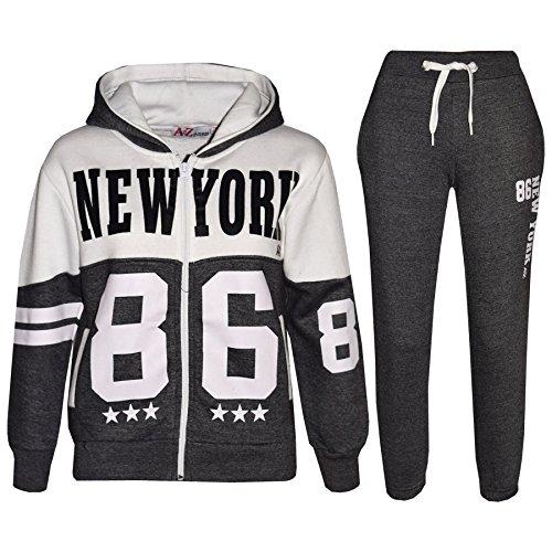 A2Z 4 Kids A2Z 4 Kids® Kinder Trainingsanzug Jungen Mädchen Designer New York 86 Aufdruck - T.S New York 86 Charcoal 9-10