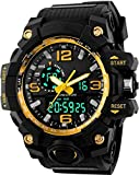 Dial Color: Black, Case Shape: Round, Dial Glass Material: Mineral Band Color: Black, Band Material: Plastic Watch Movement Type: Quartz, Watch Display Type: Analog-Digital Case Material: Plastic, Case Diameter: 55 millimeters and alarm; dual time Wa...