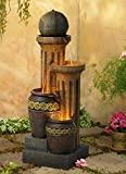 Outdoor Floor Water Fountain 50' Sphere Jugs Floor Column with LED Light for Yard Garden Lawn - John Timberland