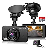 ORSKEY Dash Cam for Cars Front and Rear and SD Card Included 1080P