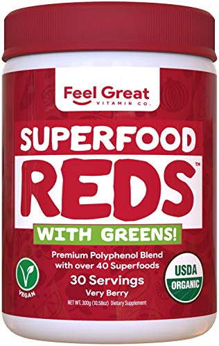 Feel Great Vitamin Co. Organic Superfood Reds Powder | Vitamin C, Probiotics, & Greens | Supports Healthy Digestion, Gut Health, and a Strong Immune System | Gluten Free, Non-GMO, Vegan | 30 Servings