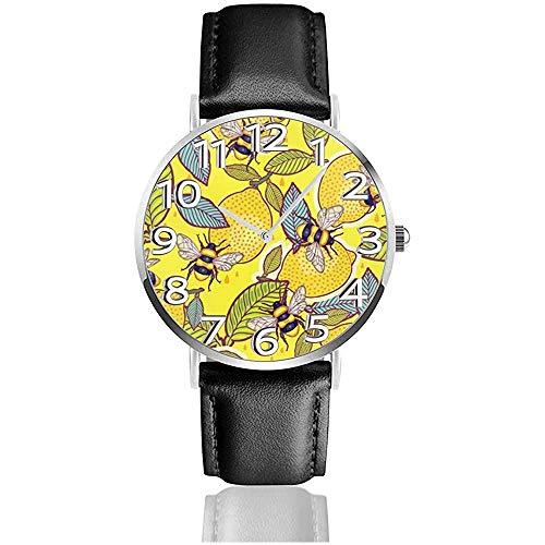 Watch Wrist Watch Yellow Lemon and Bee Garden Classic Casual Reloj de Cuarzo Relojes para Hombres Mujeres