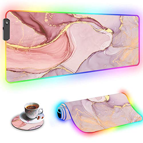 RGB Large Gaming Mouse Pad,Wkooff Led Soft Non-Slip Rubber Base Glowing Gamer Mousepad Gaming Desk Mat 31.5x11.8 Inch and Coffee Coaster,Pink Pretty Marble