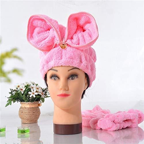 Luoshan Microfibre Solide Cheveux Turban Rapidement Cheveux secs Chapeau Serviette Enveloppé (Jaune) (Color : Light Pink)