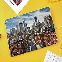 Pad Air 3 ケース (10.5 inch 2019), iPad Pro 10.5 ケース (2017), Poetic スタンド機能 筆の収納 シンプル 二つ折タイプ 全面保護型 背面の透明ケース ペンホルダー付き 保護カバー iPad Air 3, iPad Pro10.5用 TPU素材, ブラックローワーマンハッタンの街並み有名な旅行先NYC Avenue Historical
