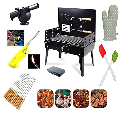 FADDEY Foldable Charcoal Barbecue and Tandoor Grill Stand for Outdoor Picnic Camping and Traveling ( Big BBQ , Big 10-stick, BBQ Blower , BBQ Flammable lighter , Silicon Brush-Spatula, Gloves )