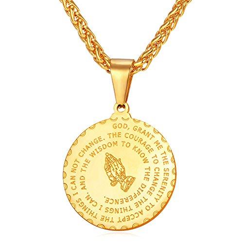 U7 Collar Oro 18k bañado en Acero Inoxidable Colgante de Medalla para Mujer Hombre Collar religioso