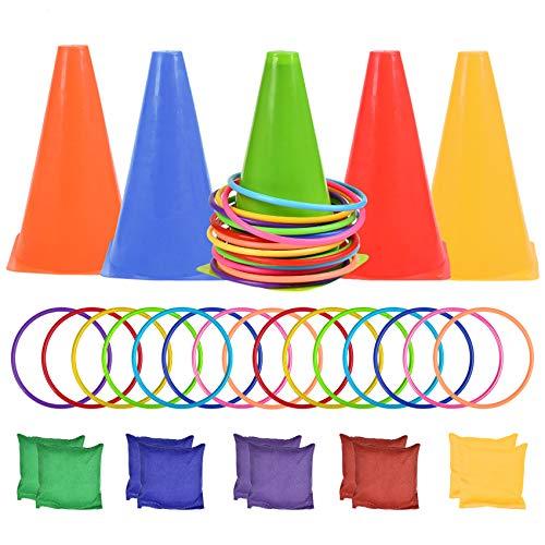 BUYGOO Juegos de Lanzamiento de Anillos, Conos, Bolsas de Frijoles, 3 en 1 Juego al Aire Libre para Niños y Adultos