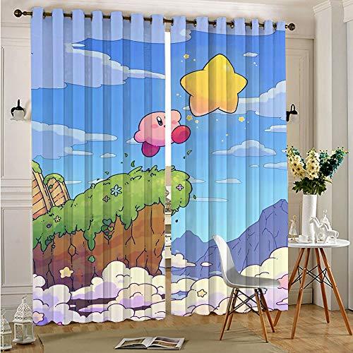 STTYE Cortinas anchas para oscurecer la habitación, cortina de ventana negra Kirby Star Classic con aislamiento térmico para cocina/dormitorio, 117 x 138 cm x 2 piezas